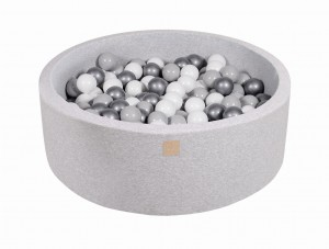 MeowBaby® Foam Round Ball Pit with 200 Balls 7 cm Baby Ball Pool, light grey