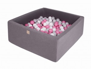 MeowBaby® Foam Ball Pit with 200 Balls 7 cm Baby Square Ball Pool, dark grey