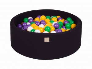 MeowBaby® 90x30cm, 200 Balls 7cm Baby Foam Round Ball Pit Certified Made In EU, black: yellow, violet, white, dark green