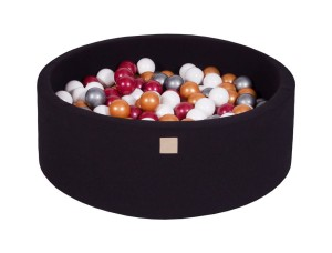 MeowBaby® 90x30cm, 200 Balls 7cm Baby Foam Round Ball Pit Certified Made In EU, black: burgundy, gold, white, silver