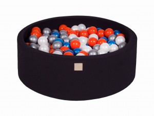 MeowBaby® 90x30cm, 200 Balls 7cm Baby Foam Round Ball Pit Certified Made In EU, black: pearl blue, pearl white, orange, silver