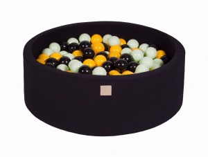 MeowBaby® 90x30cm, 200 Balls 7cm Baby Foam Round Ball Pit Certified Made In EU, black: black, yellow, light green